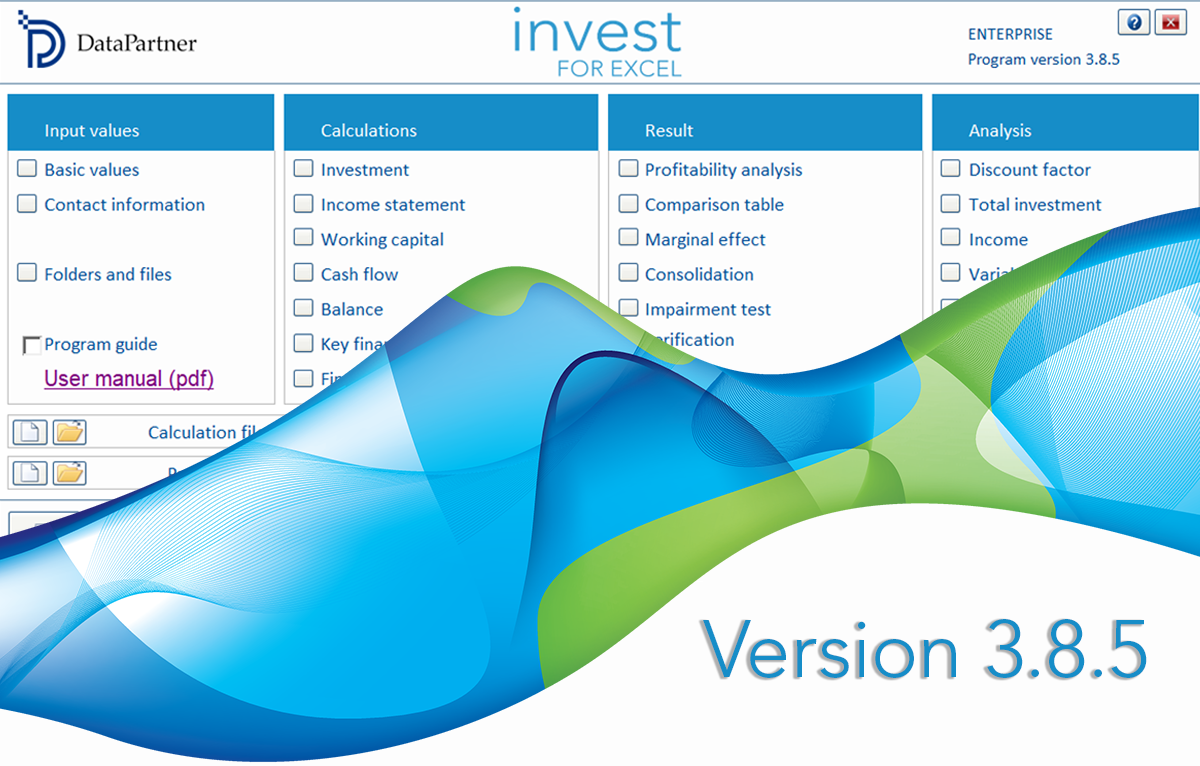 New Invest for Excel version 3.8.5